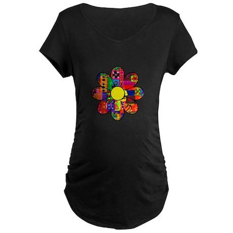 Sixties Flower Maternity Dark T-Shirt