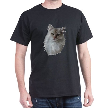 White Maine Coon Black T-Shirt