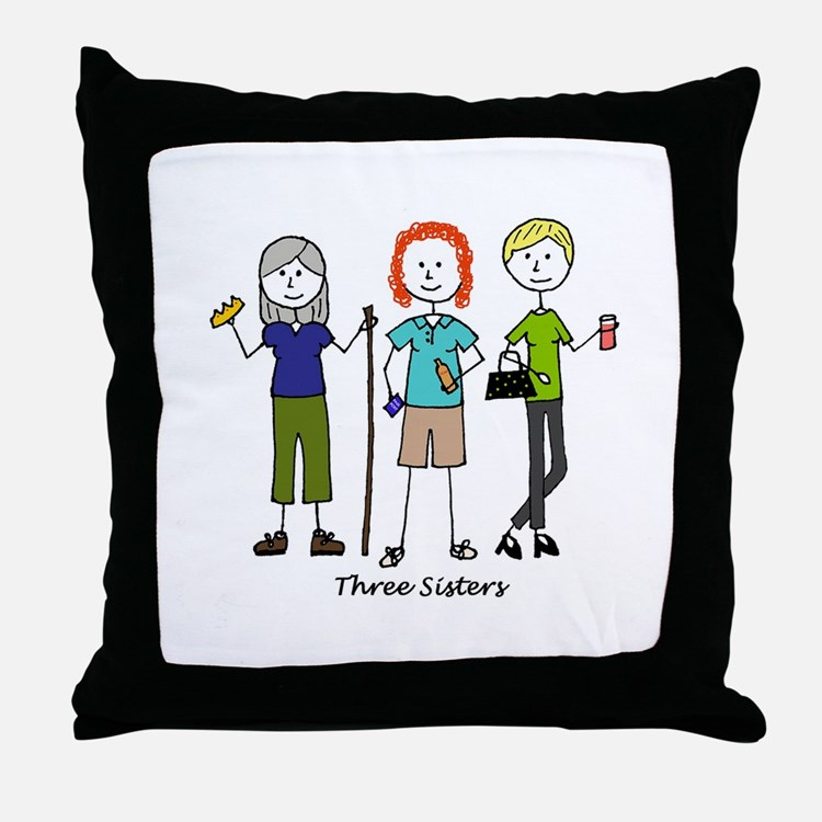 Cute Sisters Throw Pillow