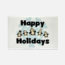 Penguin Happy Holidays Rectangle Magnet