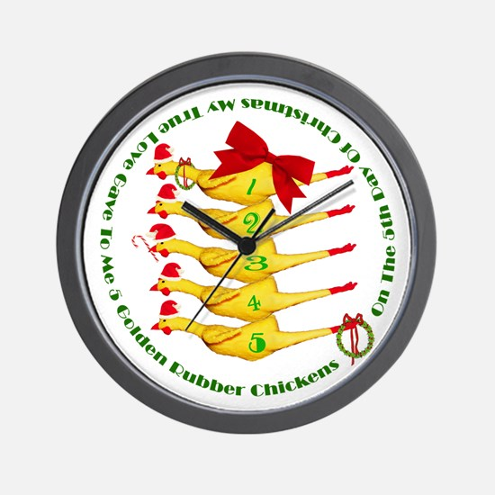 5 Rubber Chickens Wall Clock