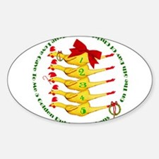 5 Rubber Chickens Oval Decal