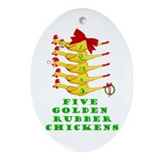5 Rubber Chickens Oval Ornament