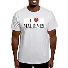 I Love Maldives Ash Grey T-Shirt