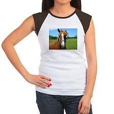 Bay horse close-up Women's Cap Sleeve T-Shirt