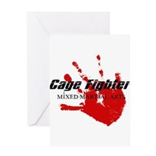 Cage Fighter Bloody Handprint Greeting Card