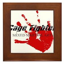 Cage Fighter Bloody Handprint Framed Tile