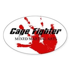 Cage Fighter Bloody Handprint Oval Decal