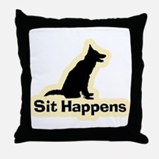 Sit Happens Dog Gifts Throw Pillow