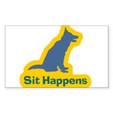 Sit Happens Dog Gifts Rectangle Decal
