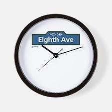 8th Avenue in NY Wall Clock