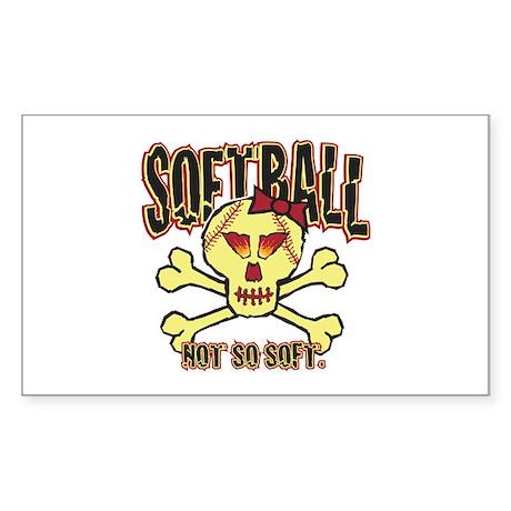 Softball, Not so soft. Rectangle Sticker