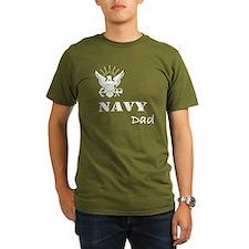 Navy Grunge Dad White Text T-Shirt