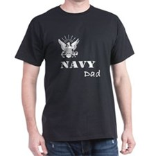 Navy Grunge Dad White Text T-Shirt