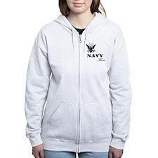 Navy Grunge Mom Zipped Hoody