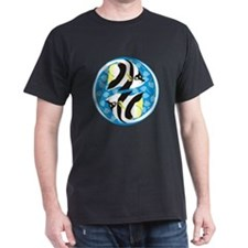 NEW Black Bannerfish Ying-Yang (blue) T-Shirt