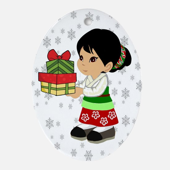 Asian Chinese Girl with Chinese Presents Ornament