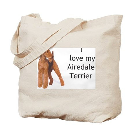 """I Love My Airedale Terrier"" Tote Bag"