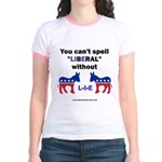 Can't Spell Liberal w/o LIE Jr. Ringer T-Shirt