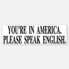 You're in America... (bumper sticker 10x3)
