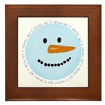 Blue Snowman Framed Tile