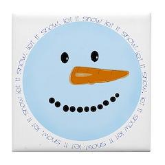 Blue Snowman Tile Coaster