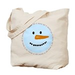 Blue Snowman Tote Bag