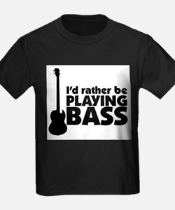 I'd rather be playing bass Ash Grey T-Shirt