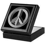 Silver Peace Sign Keepsake Box