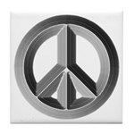 Silver Peace Sign Tile Coaster