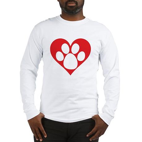 Heart Dog Paw Long Sleeve T-Shirt