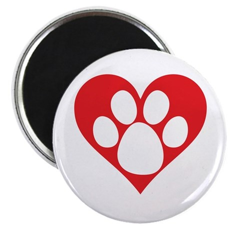 Heart Dog Paw Magnet