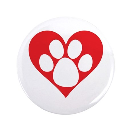 "Heart Dog Paw 3.5"" Button"