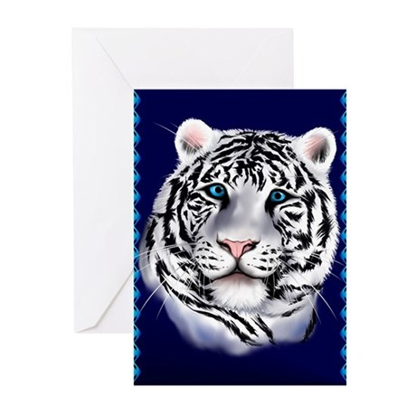 White Tiger Face Greeting Cards (Pk of 20)