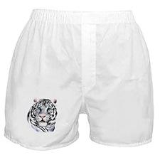 White Tiger Face Boxer Shorts