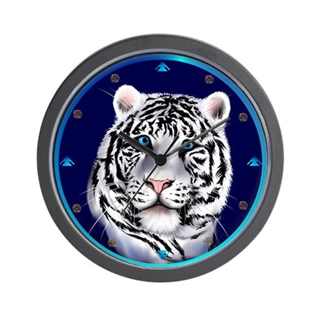 White Tiger Face Wall Clock