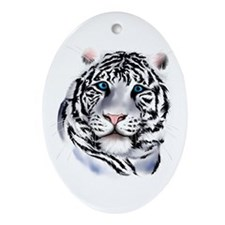 White Tiger Face Oval Ornament