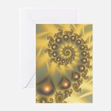 Golden Fiddle Fractal Greeting Cards (Pk of 10