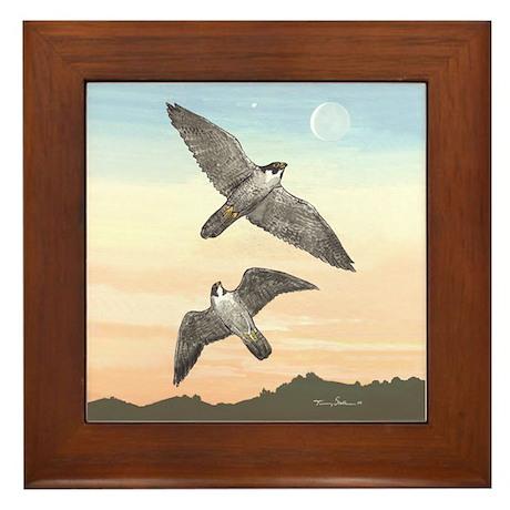 Framed Tile - Falcons in Flight