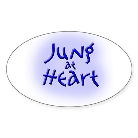 Jung at Heart blue Oval Sticker