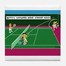 Cute Funny tennis cartoon Tile Coaster