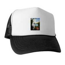 Cockatoo and Orchid Trucker Hat