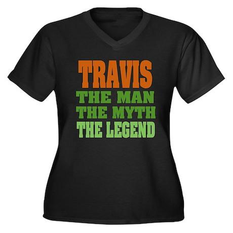 TRAVIS - The Legend Women's Plus Size V-Neck Dark