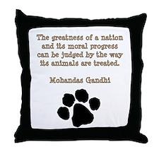 Gandhi Animal Quote Throw Pillow