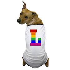 Rainbow Letter L Dog T-Shirt