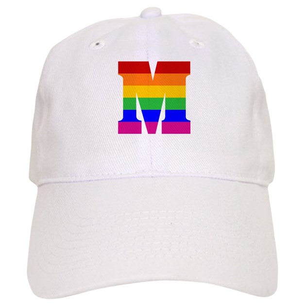 Rainbow Letter M Hat by rainbowthree