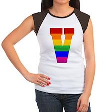 Rainbow Letter V Women's Cap Sleeve T-Shirt