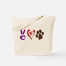 Peace, Love, Pets Symbols Tote Bag