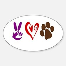 Peace, Love, Pets Symbols Sticker (Oval)