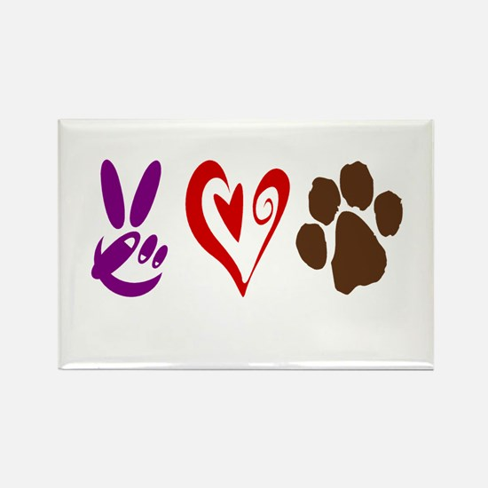 Peace, Love, Pets Symbols Rectangle Magnet